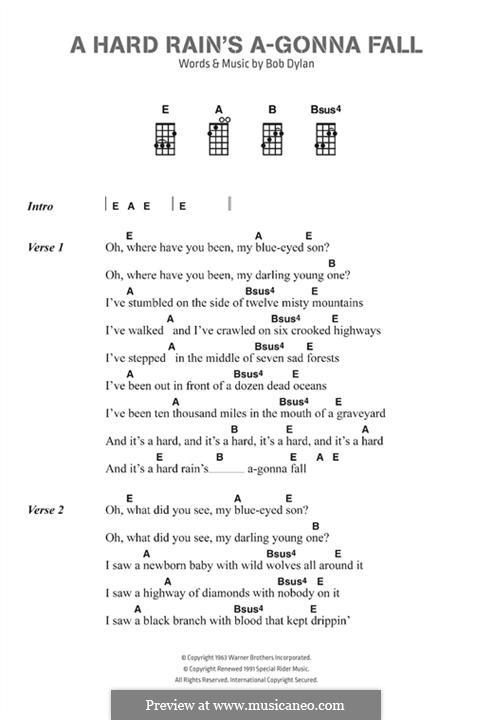 A Hard Rain's A-Gonna Fall: Lyrics and chords by Bob Dylan