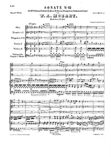 Church Sonata for Orchestra No.14 in C Major, K.278: Full score by Wolfgang Amadeus Mozart