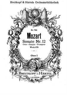 Church Sonata for Orchestra No.14 in C Major, K.278: Oboe I part by Wolfgang Amadeus Mozart