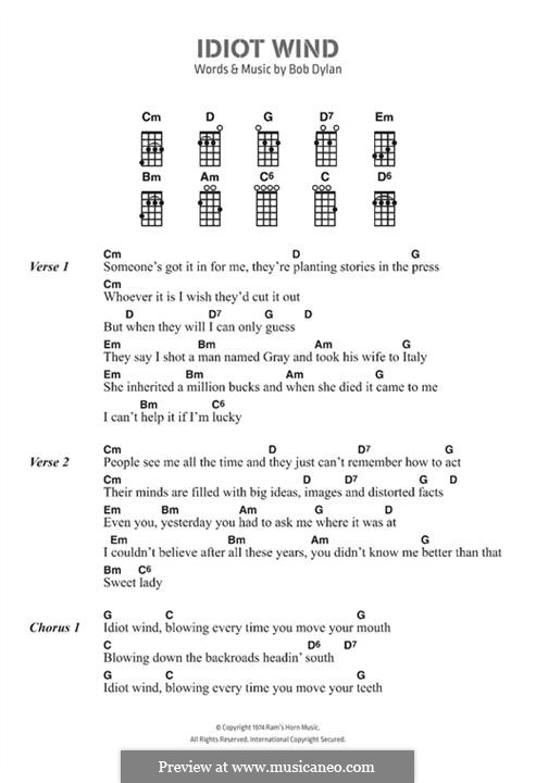 Idiot Wind: Lyrics and chords by Bob Dylan