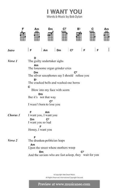 I Want You: Lyrics and chords by Bob Dylan