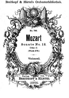 Church Sonata for Orchestra No.14 in C Major, K.278: Cello part by Wolfgang Amadeus Mozart