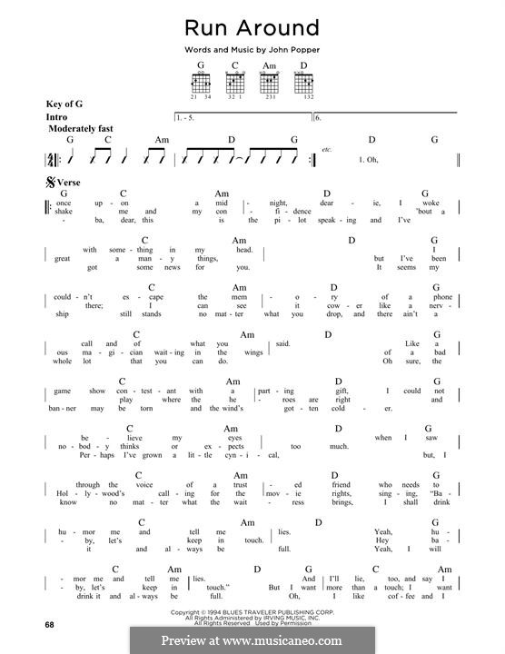 Run Around (Blues Traveler): For guitar with tab by John Popper