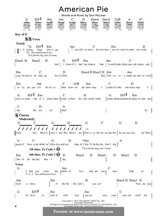 American Pie (Madonna): For guitar with tab by Don McLean