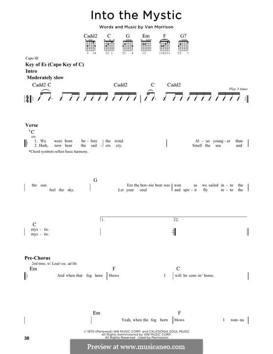 Into the Mystic: For guitar with tab by Van Morrison