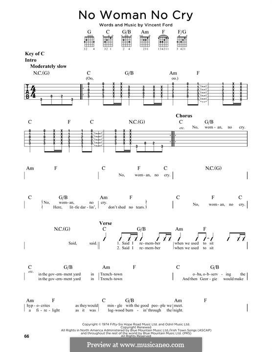 No Woman No Cry (Bob Marley): For guitar with tab by Vincent Ford