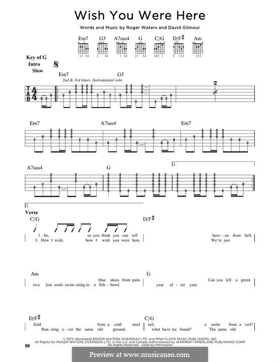 Wish You Were Here (Pink Floyd): For guitar by David Gilmour, Roger Waters