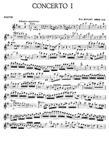 Concerto for Flute and Orchestra No.1 in G Major, K.313: Solo part by Wolfgang Amadeus Mozart