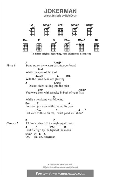 Jokerman: Lyrics and chords by Bob Dylan