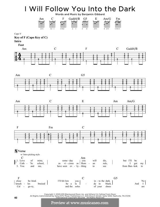 I Will Follow You Into the Dark (Death Cab for Cutie): For guitar with tab by Benjamin Gibbard