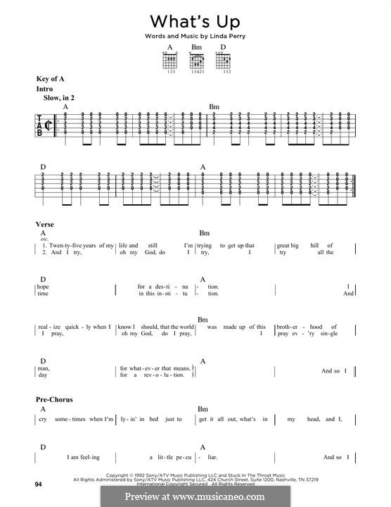 What's Up (4 Non Blondes): For guitar with tab by Linda Perry