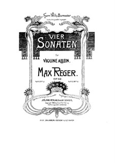 Four Sonatas for Violin, Op.42: Sonatas No.3-4 by Max Reger