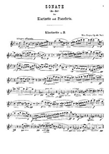Two Sonatas for Clarinet (or Viola) and Piano, Op.49: Sonata No.1 in A Flat Major – solo part by Max Reger