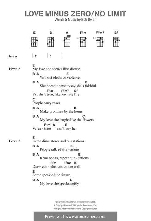 Love Minus Zero/No Limit by B. Dylan - sheet music on MusicaNeo