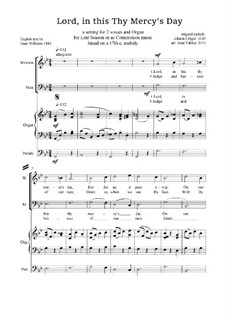 Lord, in this Thy Mercy's Day - Lenten Anthem: For voices and organ by Johann Crüger