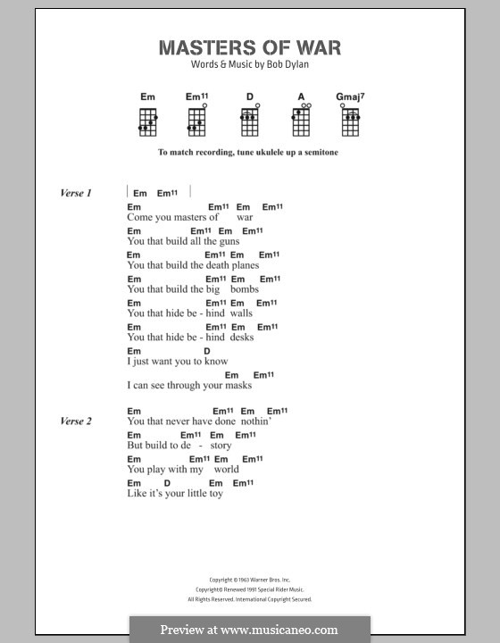 Masters of War: Lyrics and chords by Bob Dylan