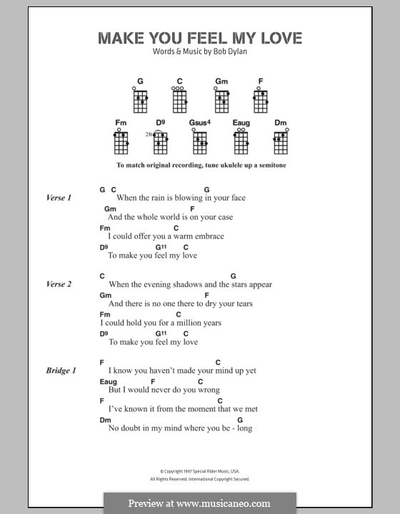 Make You Feel My Love By B Dylan Sheet Music On Musicaneo
