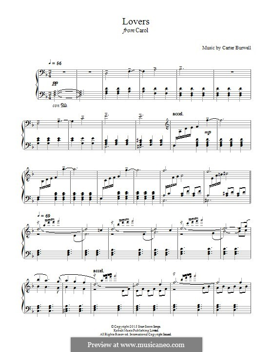 Lovers (from 'Carol'): For piano by Carter Burwell