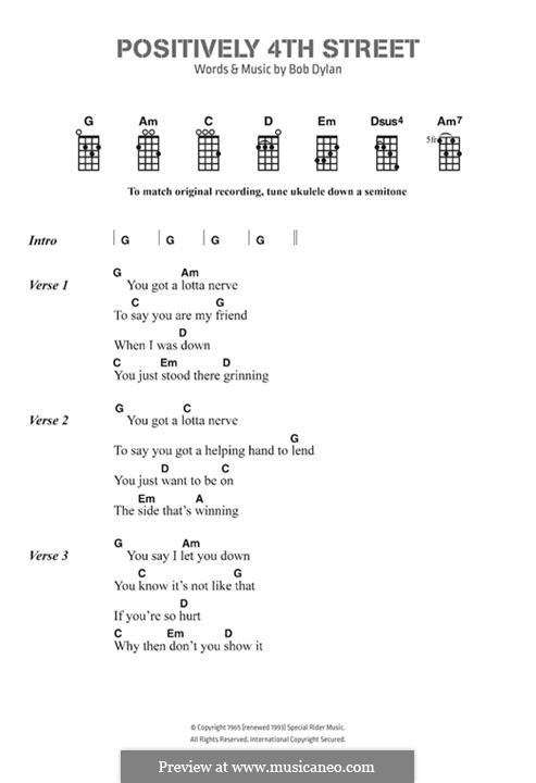 Positively 4th Street: Lyrics and chords by Bob Dylan