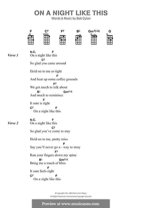 On A Night Like This By B Dylan Sheet Music On Musicaneo