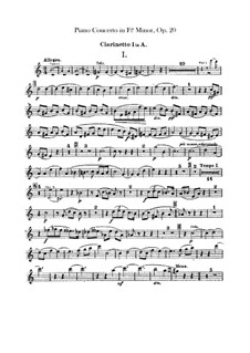Concerto for Piano and Orchestra in F Sharp Minor, Op.20: Clarinets parts by Alexander Scriabin
