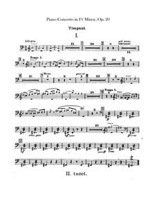 Concerto for Piano and Orchestra in F Sharp Minor, Op.20: Timpani parts by Alexander Scriabin