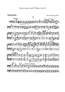 Concerto for Piano and Orchestra in F Sharp Minor, Op.20: Cellos parts by Alexander Scriabin