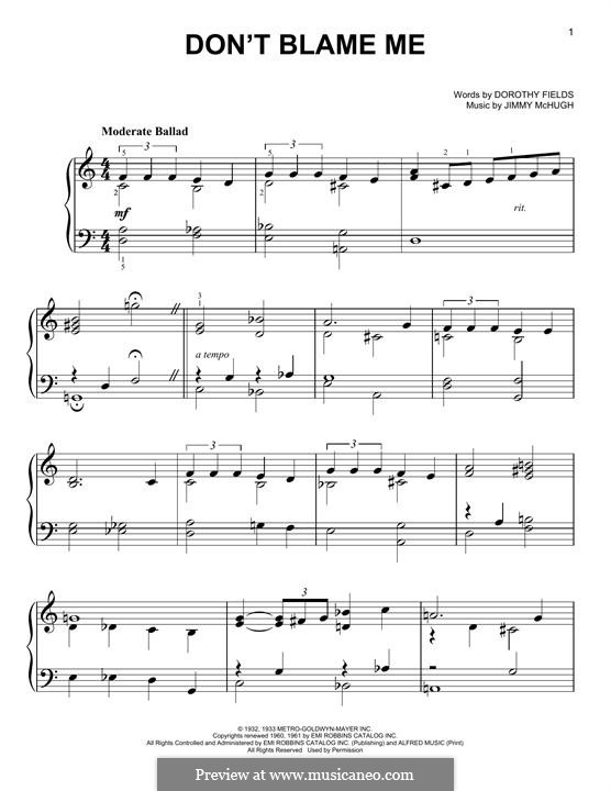 Don't Blame Me: For piano by Jimmy McHugh