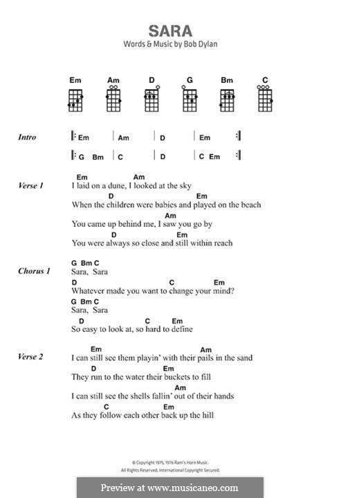 Sara by B. Dylan - sheet music on MusicaNeo