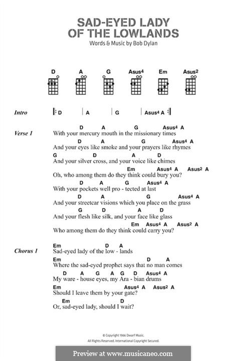 Sad Eyed Lady of the Lowlands: Lyrics and chords by Bob Dylan