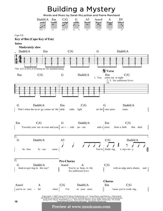 Building a Mystery: For guitar with tab by Pierre Marchand