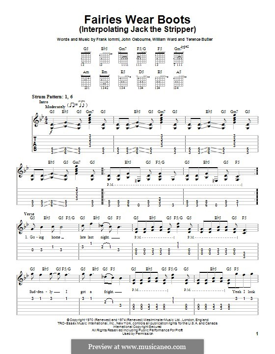 Fairies Wear Boots (Black Sabbath): For guitar with tab by Geezer Butler, Ozzy Osbourne, Tony Iommi, Bill Ward