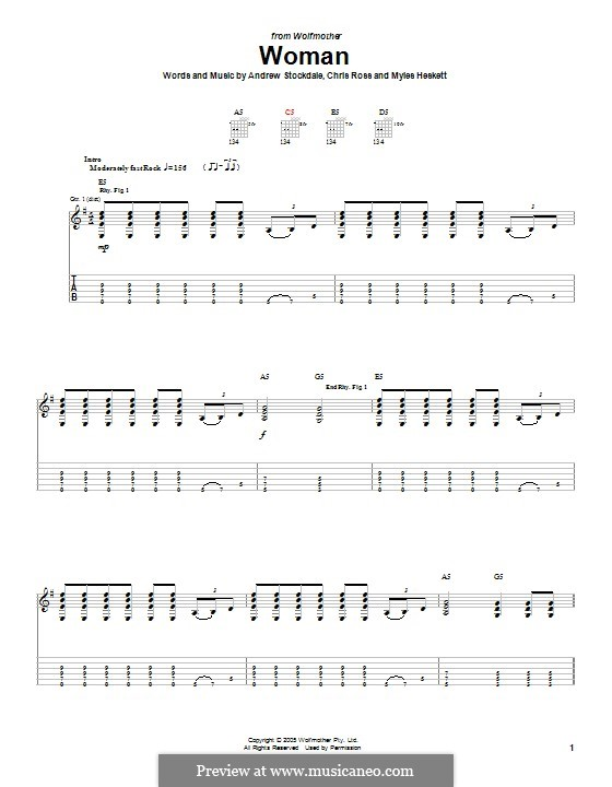 Woman (Wolfmother): For guitar with tab by Andrew Stockdale, Chris Ross, Myles Heskett