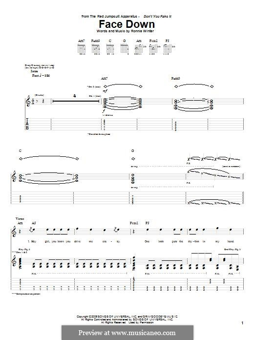 Face Down (The Red Jumpsuit Apparatus): For guitar with tab by Ronnie Winter