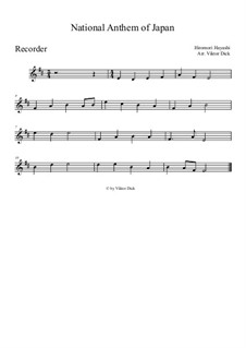 Kimigayo (Japanese National Anthem): For recorder by Hiromori Hayashi