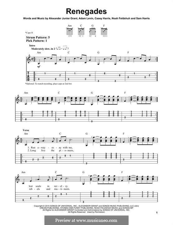 Renegades (X Ambassadors): For guitar with tab by Alexander Grant, Samuel Harris, Casey Harris, Adam Levin, Noah Feldshuh
