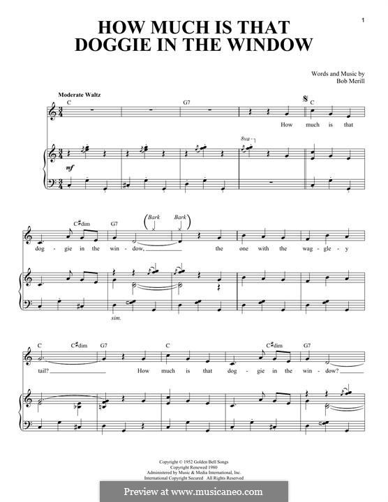 How Much is That Doggie in the Window: For voice and piano by Bob Merrill