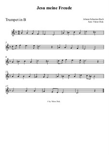 Jesu, meine Freude, BWV 227: Für Trompete in B by Johann Sebastian Bach