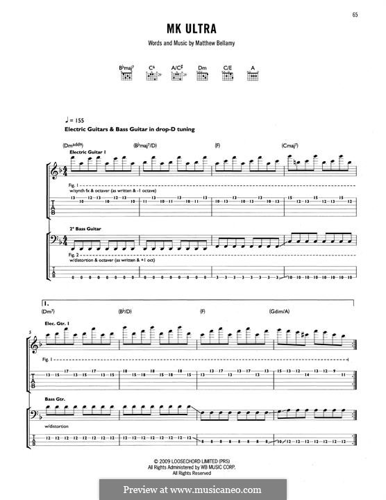 MK Ultra (Muse): For guitar with tab by Matthew Bellamy