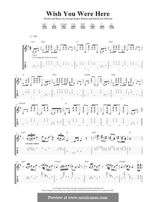 Guitar guitar tabs wish you were here : Wish You Were Here (Pink Floyd) by D. Gilmour, R. Waters on MusicaNeo