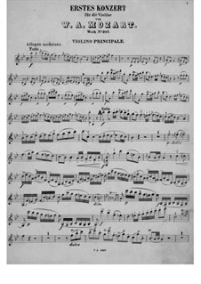 Concerto for Violin and Orchestra No.1 in B Flat Major, K.207: Solo part by Wolfgang Amadeus Mozart