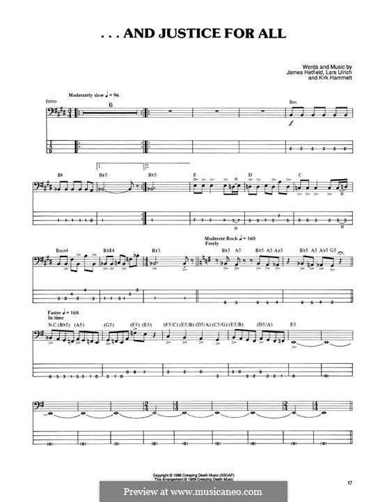 ...And Justice for All (Metallica): For bass guitar with tab by James Hetfield, Kirk Hammett, Lars Ulrich