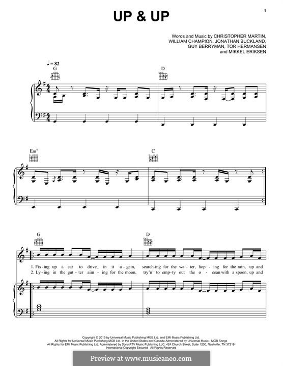 Up & Up (Coldplay): For voice and piano (or guitar) by Chris Martin, Guy Berryman, Jonny Buckland, Mikkel Storleer Eriksen, Tor Erik Hermansen, Will Champion