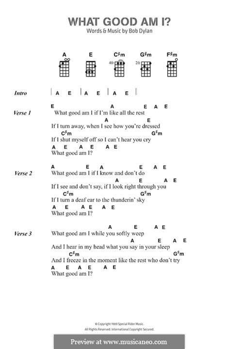 What Good am I? by B. Dylan - sheet music on MusicaNeo