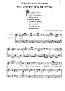 Nel cor più non mi sento, R 1.76: For voice and piano by Giovanni Paisiello