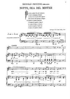 O notte, dea del mister: For voice and piano by Nicola Piccini