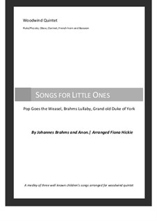 Songs for Little Ones: For wind quintet by Johannes Brahms, folklore