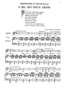 O del mio dolce ardor (O Thou Belov'd): For voice and piano by Christoph Willibald Gluck