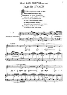 Plaisir d'Amour (The Joys of Love): For voice and piano by Jean Paul Egide Martini