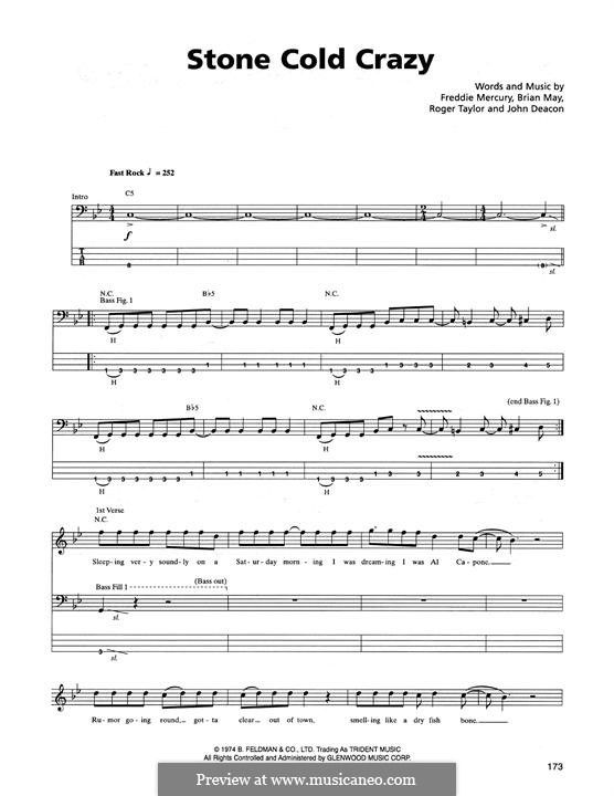 Stone Cold Crazy (Queen): For bass guitar with tab by Brian May, Freddie Mercury, John Deacon, Roger Taylor
